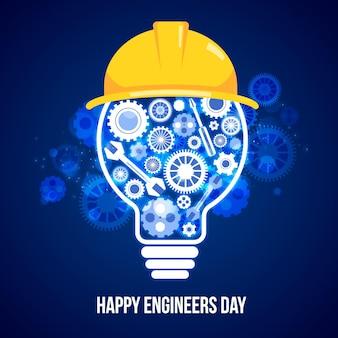 Dia dos engenheiros com ferramentas e lâmpada