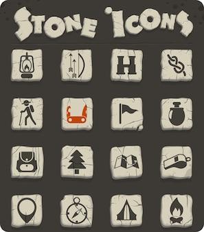 Dia dos escoteiros ícones vetoriais para web e design de interface de usuário