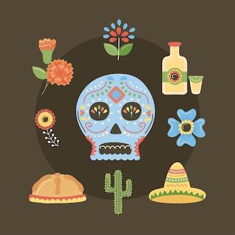 Dia dos ícones do mexicano morto