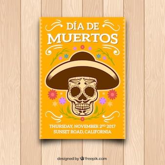Dia dos mortes poster amarelo com crânio mexicano