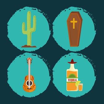 Dia dos mortos, caixão, guitarra, garrafa de tequila e ícones de cacto ilustração vetorial de celebração mexicana