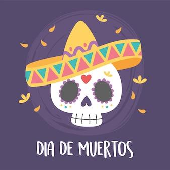 Dia dos mortos, caveira com decoração de chapéu e flores, celebração mexicana.