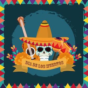 Dia dos mortos, caveira de açúcar com chapéu, guitarra, maracas e flores, ilustração vetorial de celebração mexicana