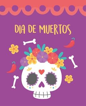 Dia dos mortos, caveira de celebração mexicana com flores e ossos tradicionais.