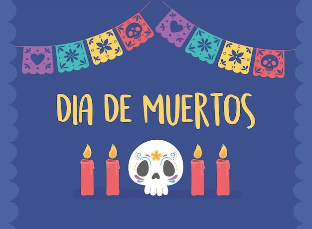 Dia dos mortos, caveira tradicional de celebração mexicana e velas.