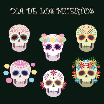 Dia dos mortos, caveiras de açúcar decoração flores celebração mexicana