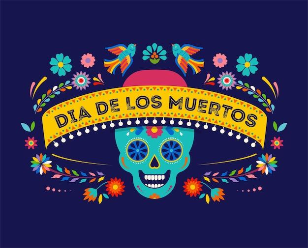 Dia dos mortos com banner de fundo dia de los muertos e conceito de cartão com caveira de açúcar