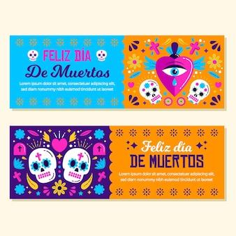 Dia dos mortos design plano de banners