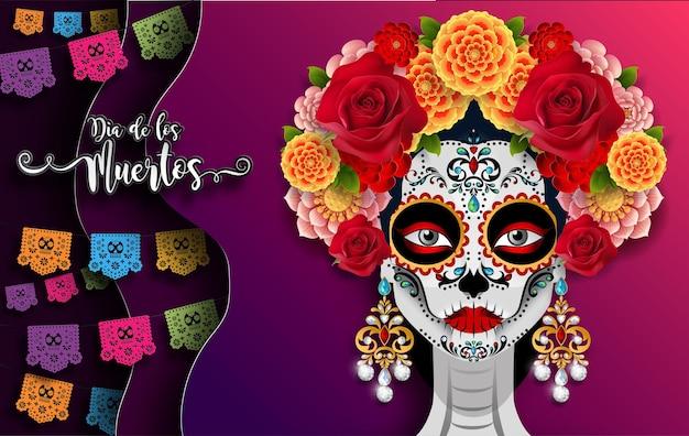 Dia dos mortos, dia de los muertos, caveira de açúcar com coroa de flores de calêndula em papel cor de fundo preto.
