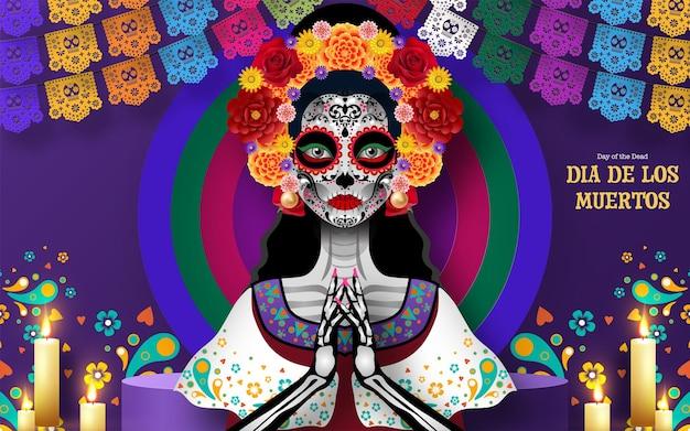 Dia dos mortos dia de los muertos, caveira de açúcar com flores de calêndula