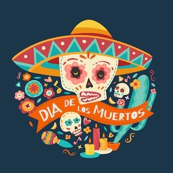 Dia dos mortos, dia de los muertos, caveiras com flores, velas. ilustração vetorial.