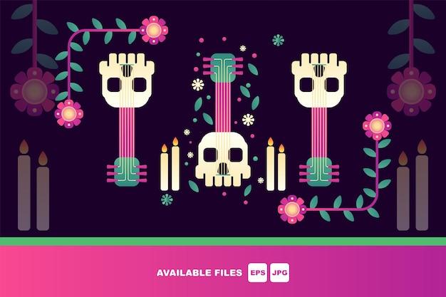 Dia dos mortos, dia de los muertos, conjunto de ilustrações vetoriais planas. crânios mexicanos de açúcar,