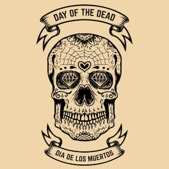 Dia dos mortos. dia de los muertos. crânio de açúcar com padrão floral. elemento para cartaz, cartão de felicitações. ilustração
