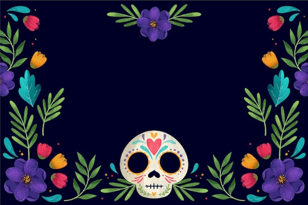 Dia dos mortos em aquarela com caveira