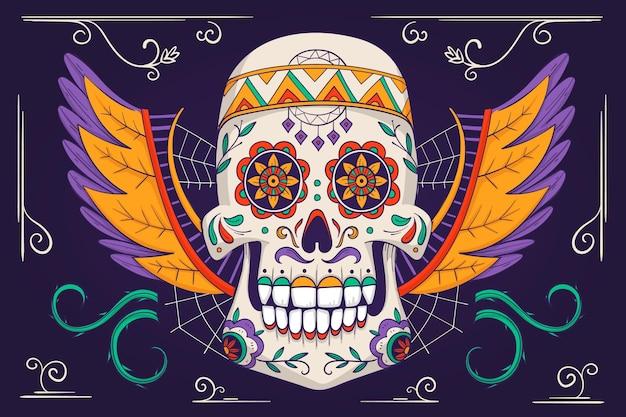 Dia dos mortos, estilo de fundo desenhado à mão