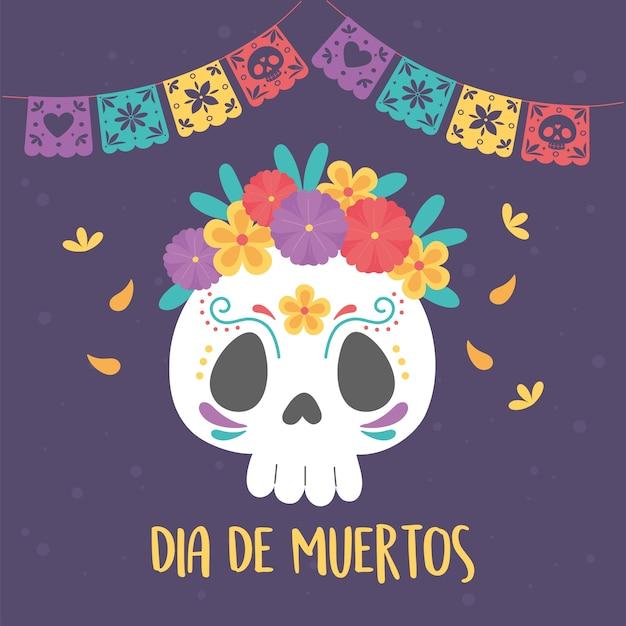 Dia dos mortos, flores de caveira catrina e decoração de estamenha, celebração mexicana.