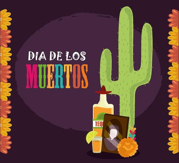 Dia dos mortos, fotos emolduram flores e cactos tequila, ilustração vetorial de celebração mexicana