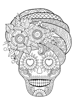 Dia dos mortos, zentangle sugar skull. livro de colorir adulto vetorial