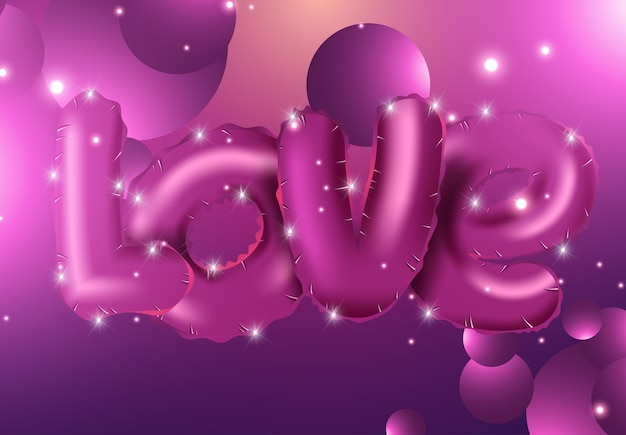 Dia dos namorados abstrato com balões 3d vermelhos
