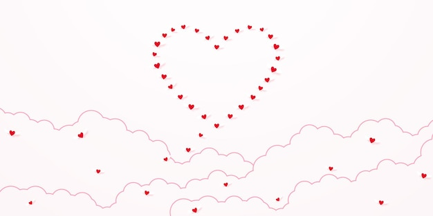 Dia dos namorados amor conceito fundo vermelho coração voando no céu para ser forma de coração com nuvem