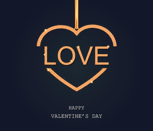 Dia dos namorados amor dourado no coração