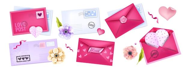Dia dos namorados amor romântico post coleções, cartas, envelopes, flores, cartões postais de coração. mensagem de férias, conjunto de modelo de correio isolado no branco. dia dos namorados rosa, letras azuis, selos