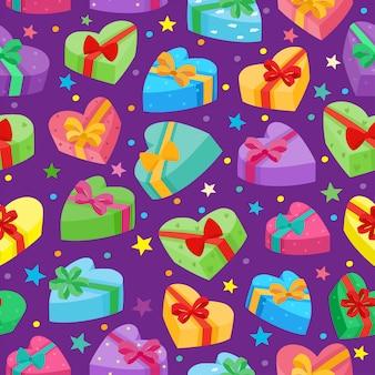 Dia dos namorados apresenta coleção. padrão sem emenda de vetor de caixa de presentes dos desenhos animados