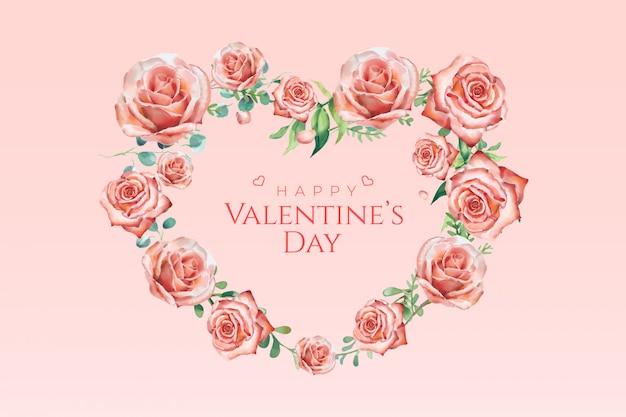 Dia dos namorados aquarela rosa banner