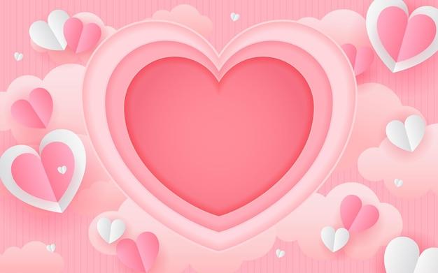 Dia dos namorados arte de corações em papel