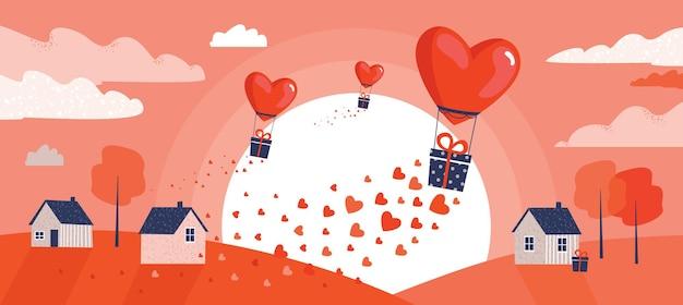 Dia dos namorados. balões de ar quente e casas ao nascer do sol