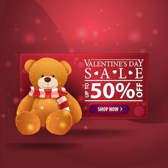 Dia dos namorados, bandeira, com, urso teddy