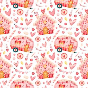 Dia dos namorados bonito padrão sem emenda. padrão de casas de pão de gengibre do dia dos namorados. padrão de doces do dia dos namorados.