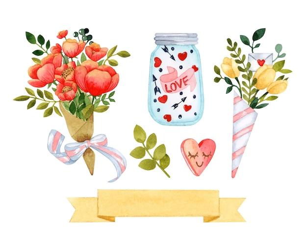 Dia dos namorados buquê de flores em aquarela com elementos isolados