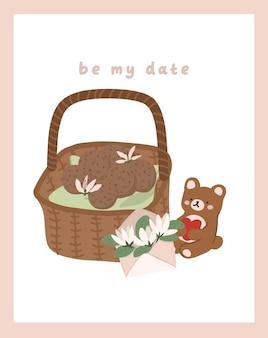 Dia dos namorados cartão de dedicação nota carta de amor bonito design plano escandinavo