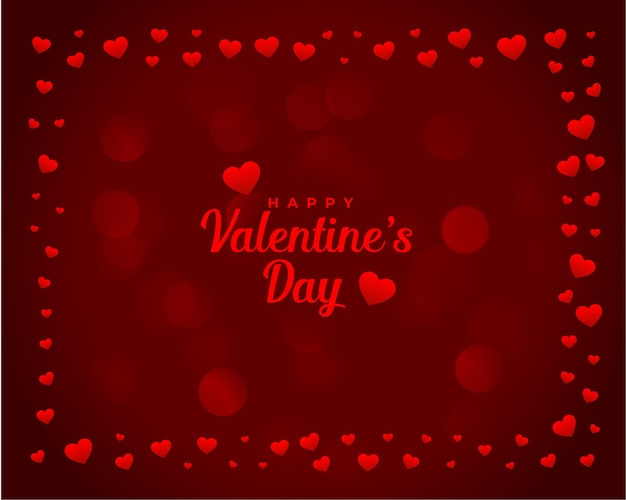 Dia dos namorados cartão romântico com moldura de corações