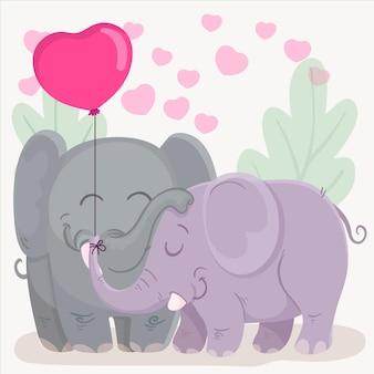 Dia dos namorados casal de animais desenha
