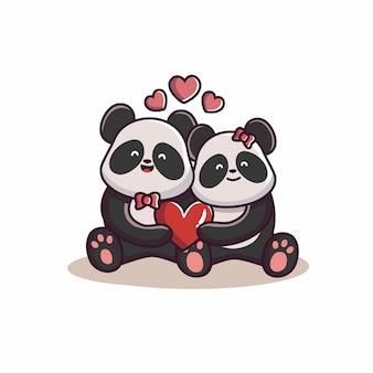 Dia dos namorados casal de panda amoroso Vetor Premium