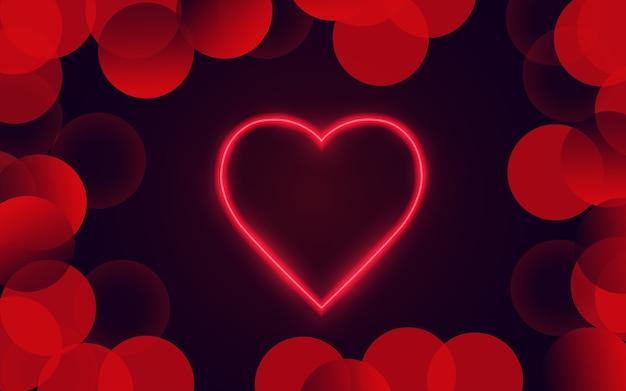 Dia dos namorados. celebração. ame. coração grande em estilo neon.