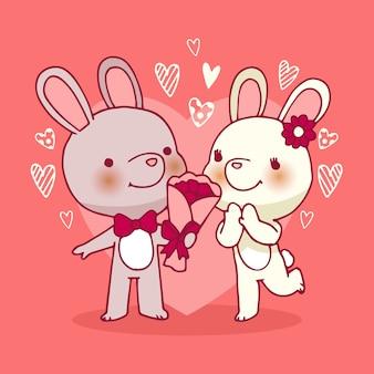 Dia dos namorados coelhos casal mão desenhada