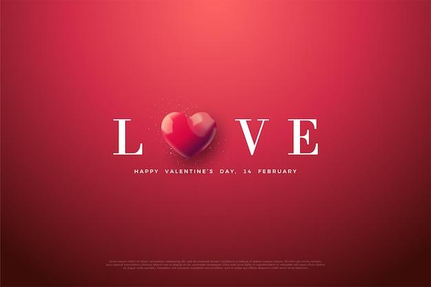 Dia dos namorados com as palavras amor com a letra o substituída por um balão de coração vermelho.