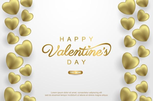 Dia dos namorados com balão de amor dourado realista em branco