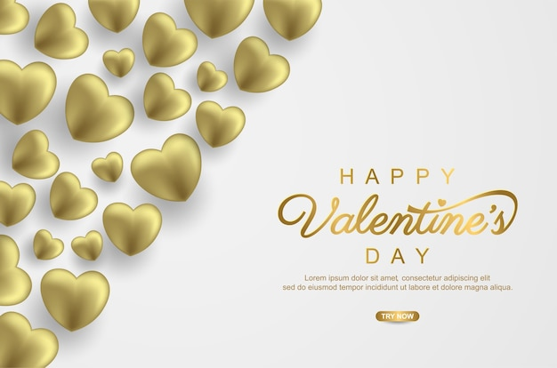 Dia dos namorados com balão de amor dourado realista