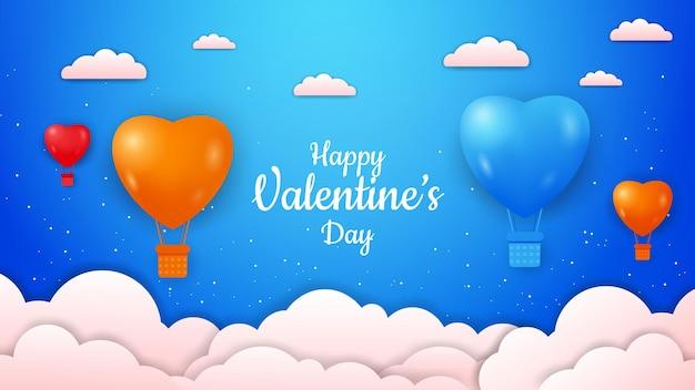 Dia dos namorados com balões de ar quente coloridos em forma de amor