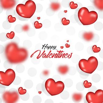 Dia dos namorados com balões de coração realista 3d