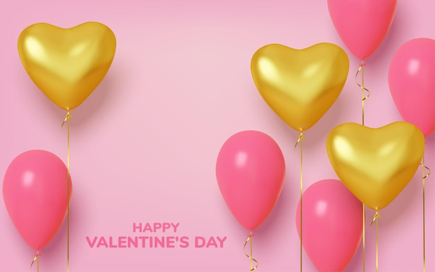 Dia dos namorados com balões realistas rosa e ouro em forma de coração.