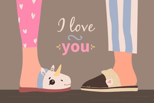 Dia dos namorados com chinelos em casa. eu te amo.