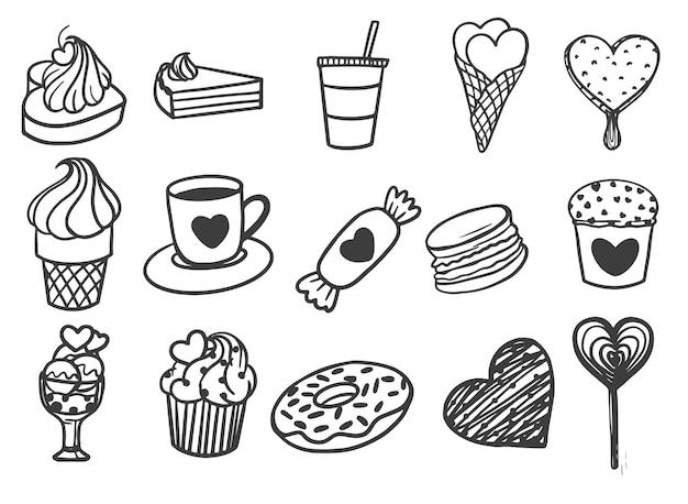 Dia dos namorados com comida e bebida desenhada à mão