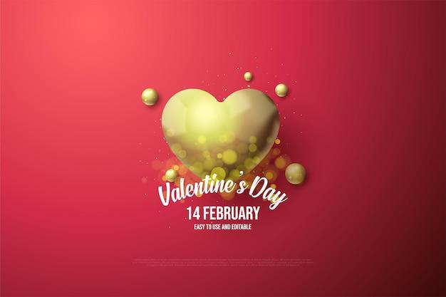 Dia dos namorados com coração de ouro elegante