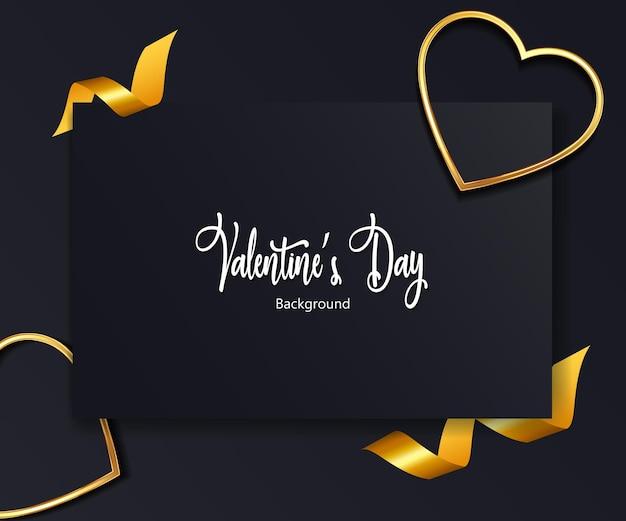 Dia dos namorados com corações de ouro, fita.