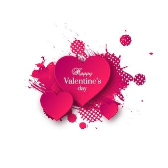 Dia dos namorados com corações de papel rosa e respingos de aquarela.